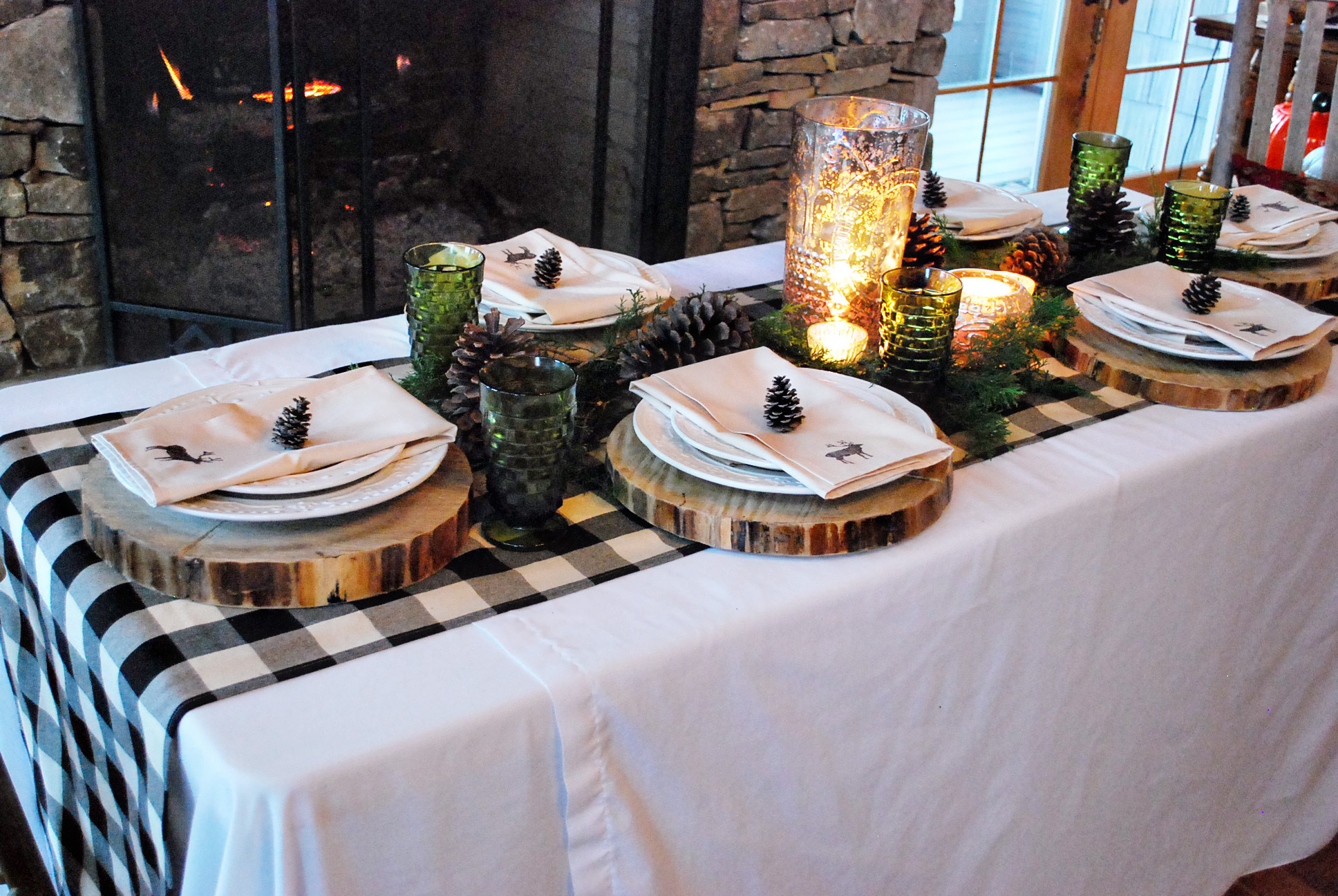 Gingham and pinecone rustic holiday tablescape