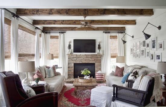 White walls wood beams