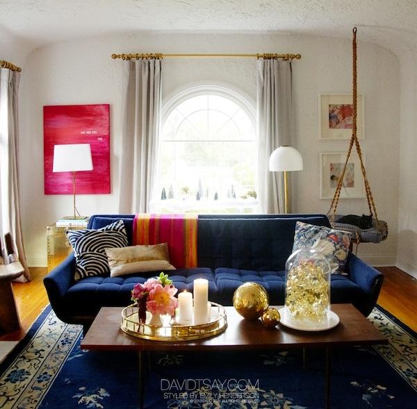 Emily Henderson Blue Sofa