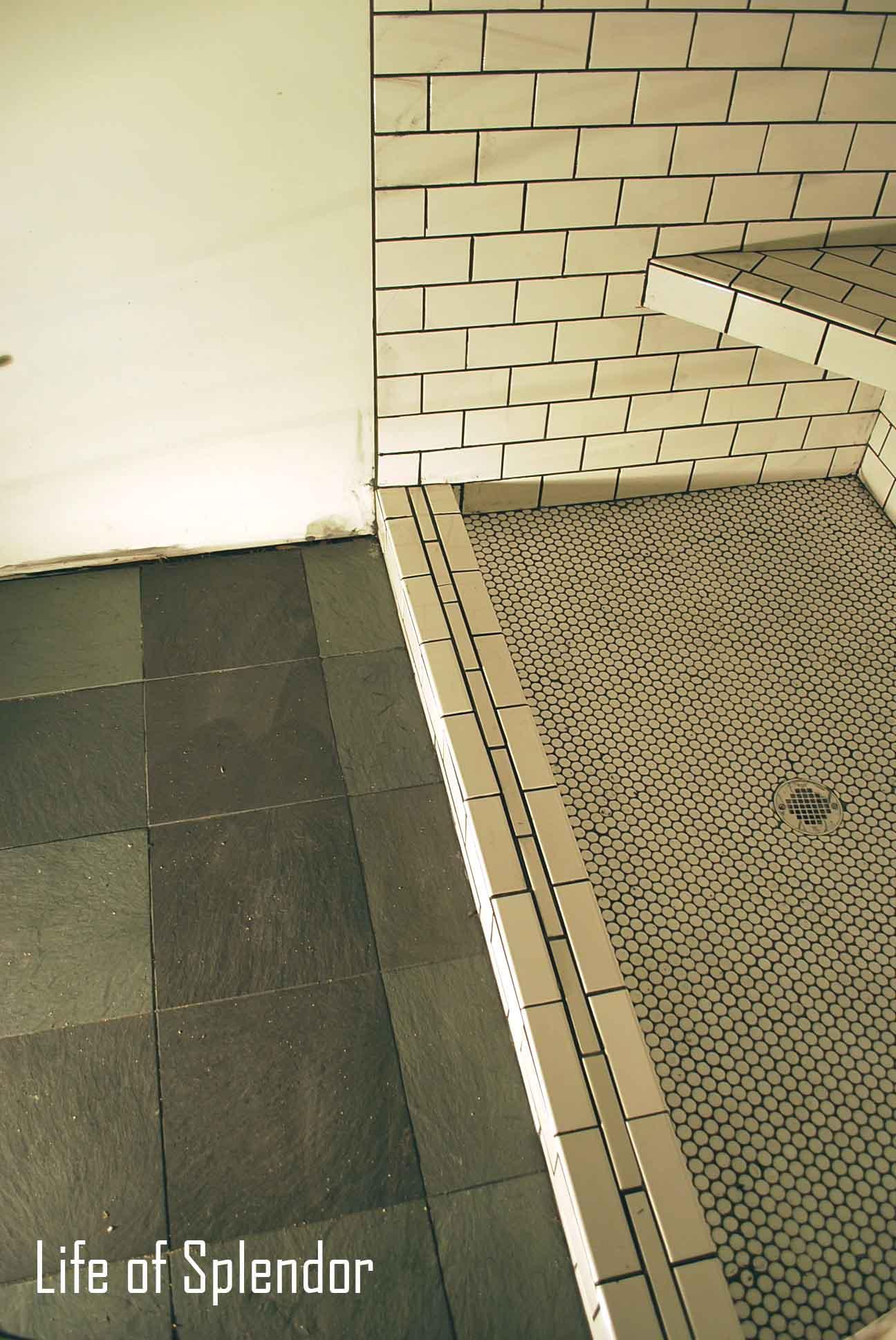 Master Bathroom Slate and Subway Tile