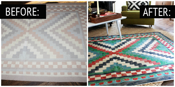 Painted Rug Before And After Thewhitebuffalostylingco Com