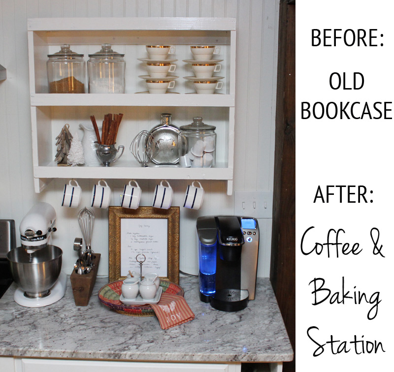 Bookcase Turned Coffee Station