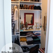 Ikea Billy Bookshelves as Closet Storage by thewhitebuffalostylingco.com