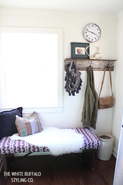 Rustic Bohemian Mudroom Styling from thewhitebuffalostylingco.com