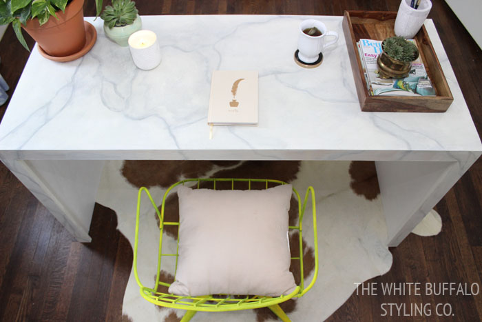Marble Desk from thewhitebuffalostylingco.com