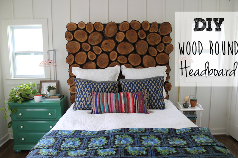 DIY Wood Round Headboard Tutorial from thewhitebuffalostylingco.com