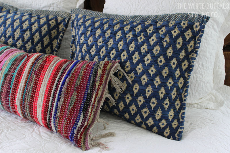 decorative couch wool and bohemian pillow for patchwork designer blue pillows decor throw