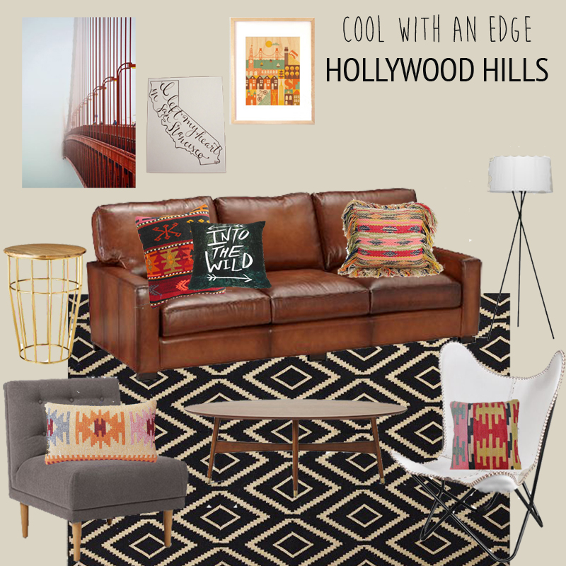 Cool With An Edge Hollywood Hills Living Room. Turner Leather Sofa ...