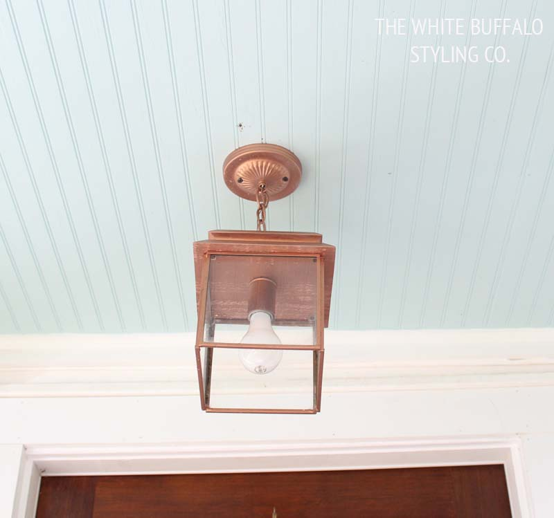 Copper Lantern and Blue Ceiling