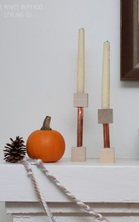 Copper Pipe and Wood Block Candlesticks