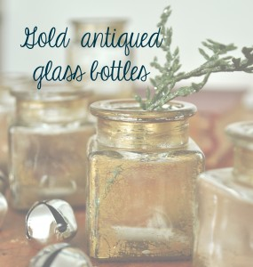 Gold antiqued glass bottles