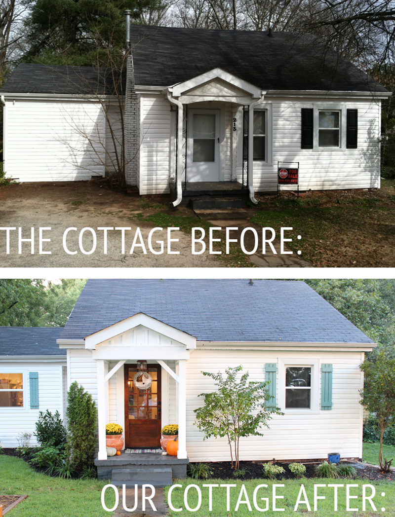 Our cottage exterior before after for Exterior makeover ideas