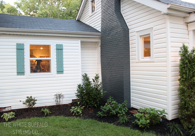 Our cottage exterior before after the white buffalo styling co bloglovin for Exterior bungalow renovations before and after