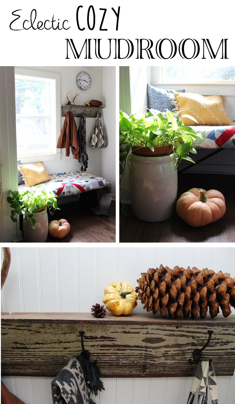 eclectic cozy mudroom