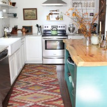 Colorful Kilim Runner in White Kitchen