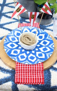 red, white, and blue place setting