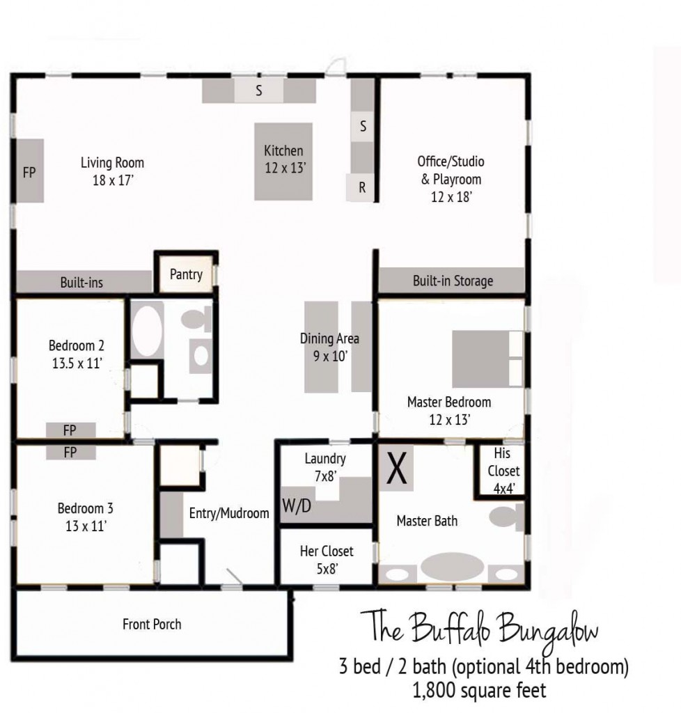 A new buffalo bungalow floor plan for Bungalow building plans