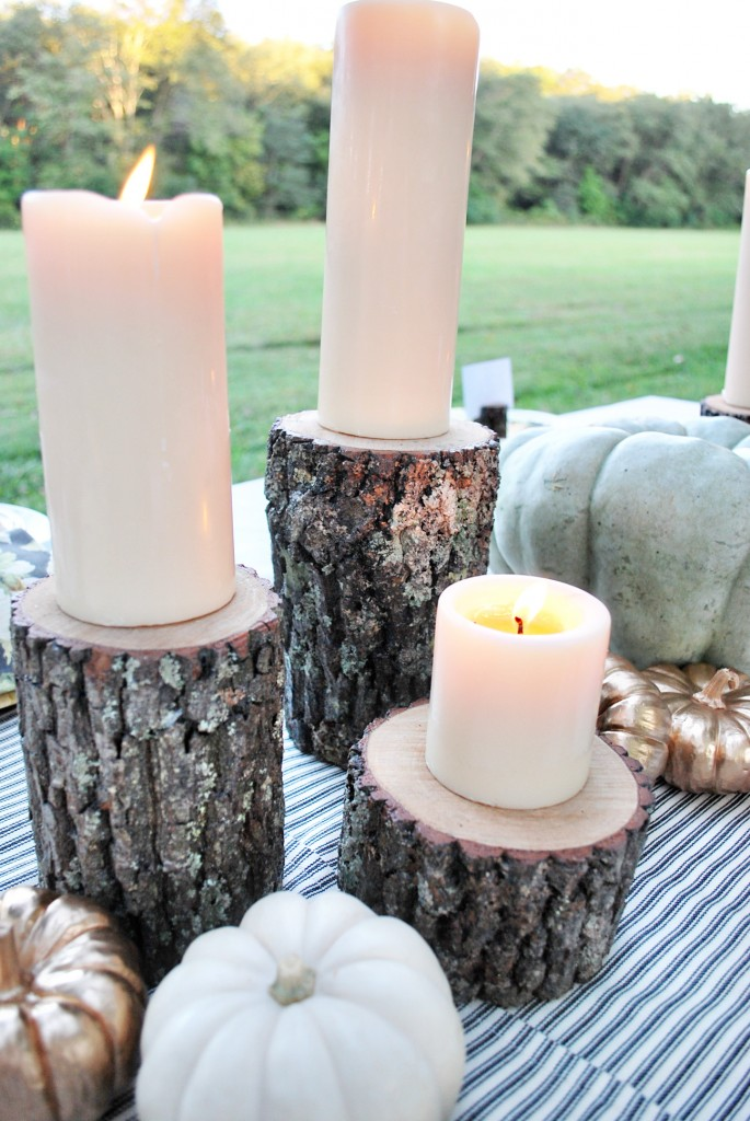 Wood-round-candle-holders