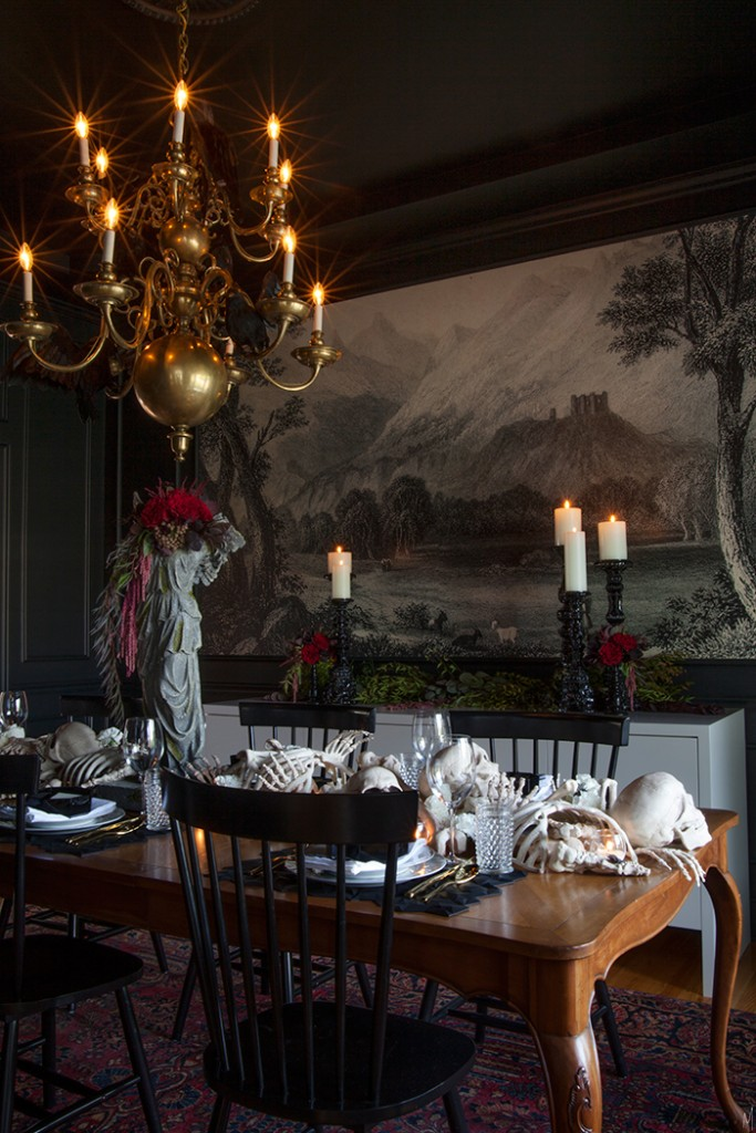 The-Makerista-Fall-Home-Tour-Halloween-Haunted-Dining-Room-Entertaining-Dark-Moody-Florals-Bone-Runner-Skeletons-Mural-Dark-IMG_7032