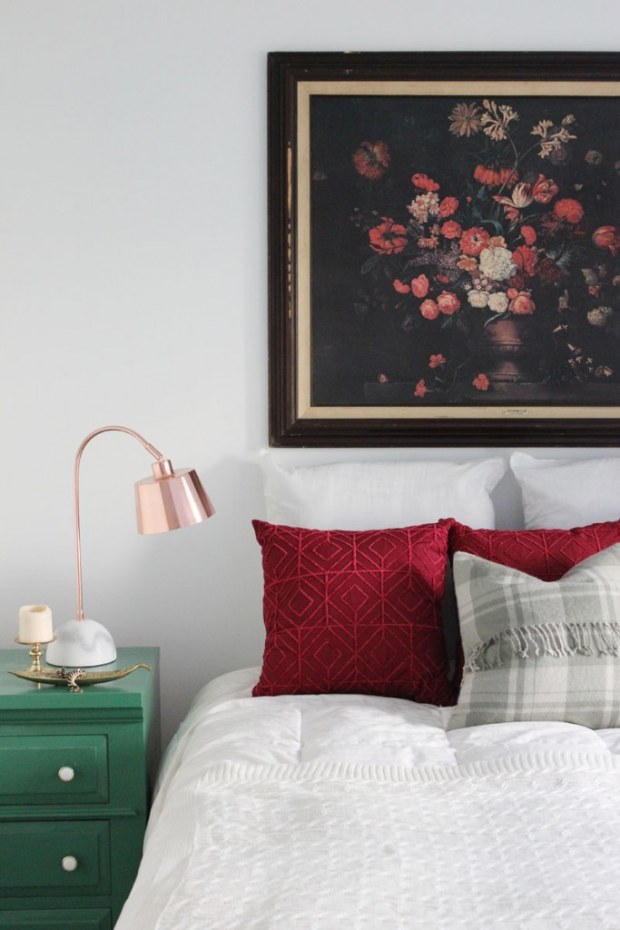 Vintage floral painting as headboard