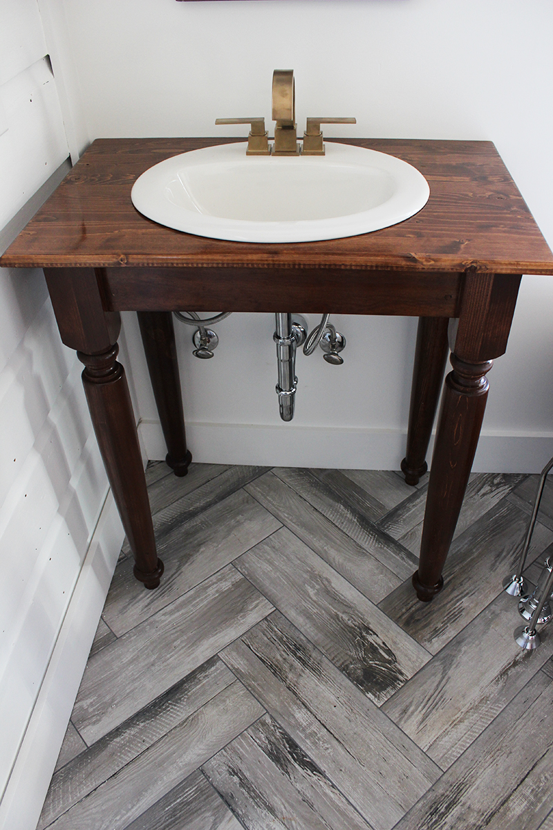 Diy farmhouse bathroom vanities for Diy bathroom sink cabinet