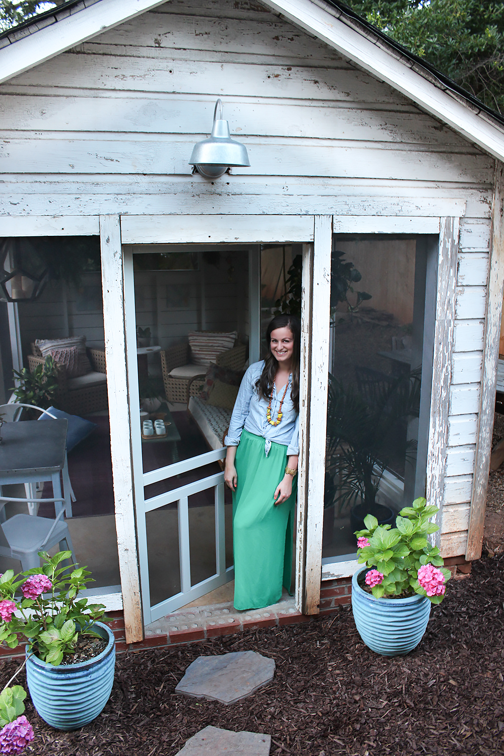 Shed turned boho screened porch for Shed with porch