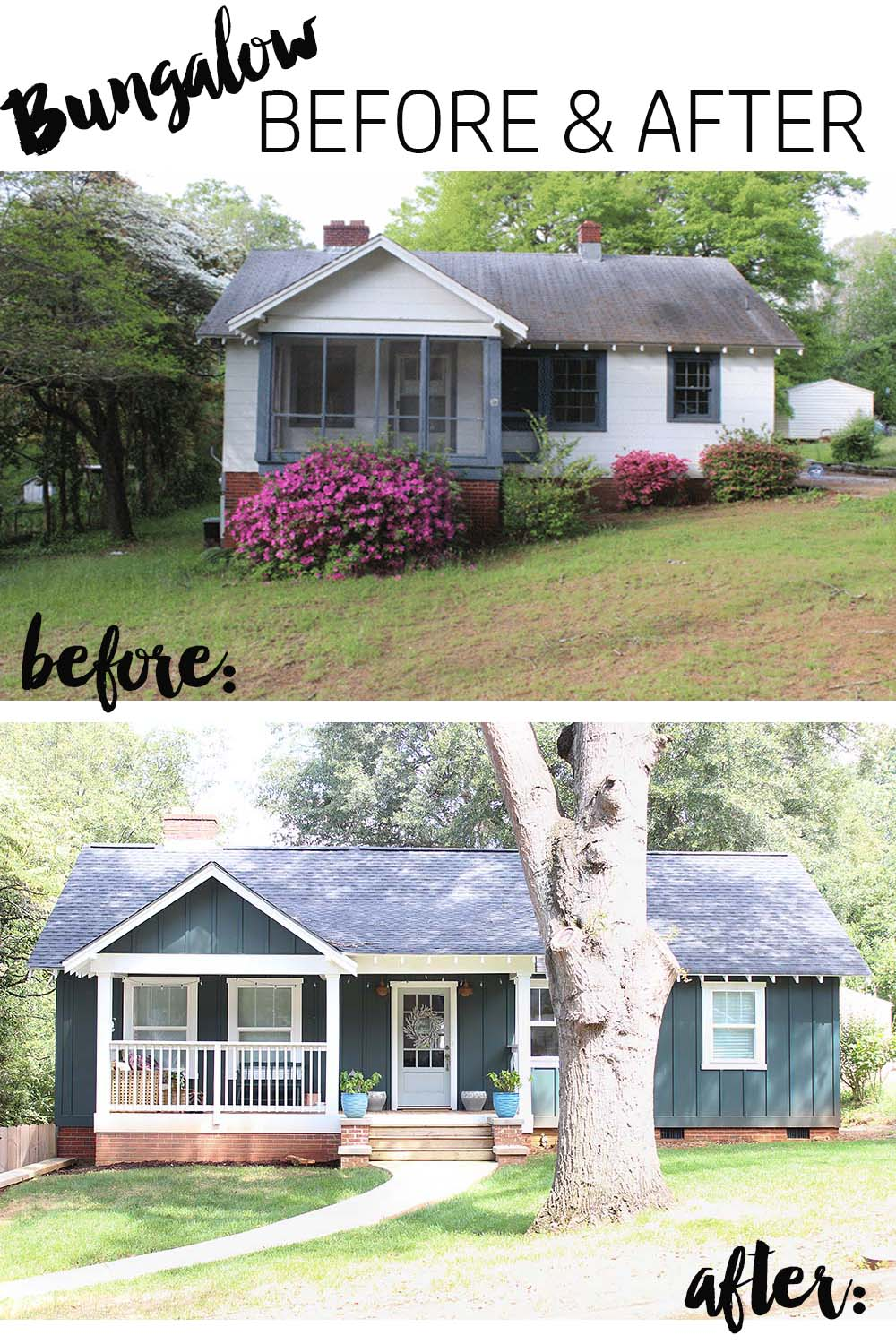 Our bungalow exterior before after for Exterior bungalow renovations before and after