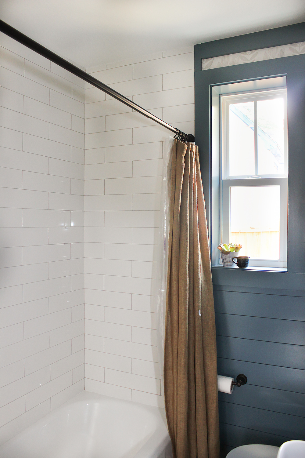 Fresh country bath before after thewhitebuffalostylingco then we used oversized subway tile for the surround i love going all the way to the ceiling for height and extra protection from water dailygadgetfo Image collections