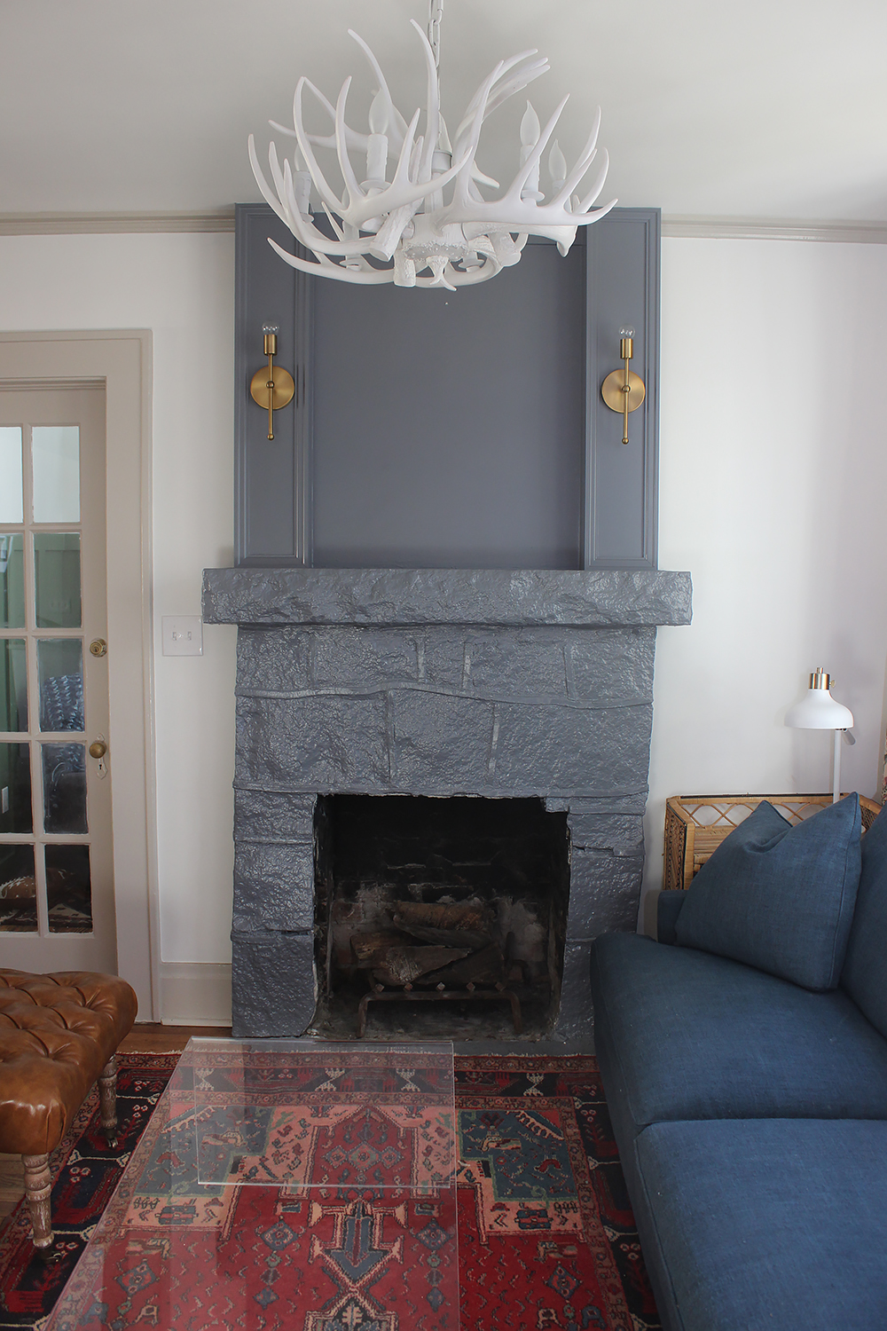 Oh My Blue Fireplace Its Benjamin Moore Templeton Gray I Love Colored Fireplaces That Contrast If Yall Hadnt Figured Out Yet